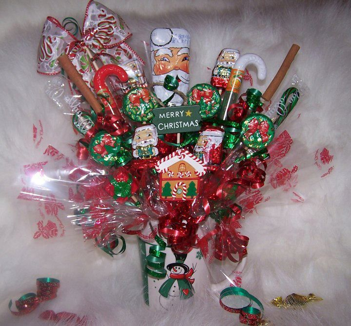 Christmas candy bouquet candy bouquet pinterest - Ideas para arreglos navidenos ...