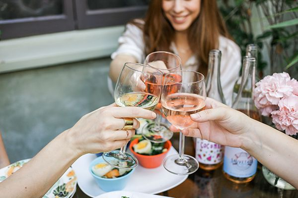 Happy hour with wine and small bites is the perfect way to close out the summer!