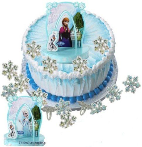Disney Frozen Cake Topper and 24 Holographic Glitter Snowflake Rings
