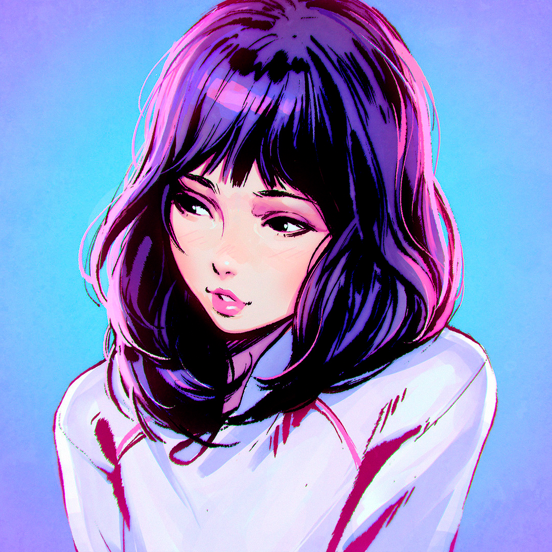 Artstation Sumi Ilya Kuvshinov Anime Art Girl Face Illustration Manga Art