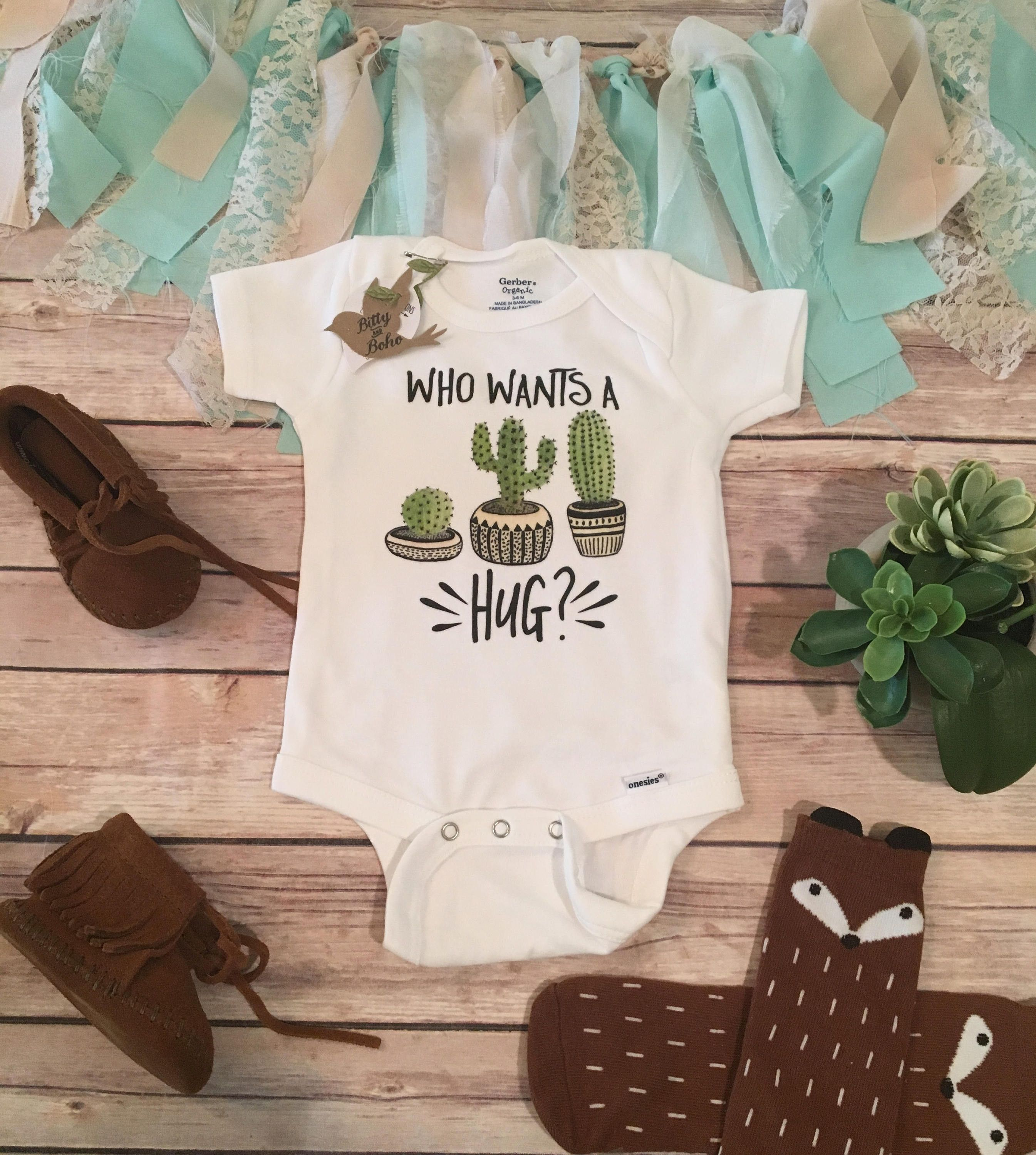 9a3a79cca Who Wants a Hug? - Cactus Onesie®   widdle babies   Hipster baby ...