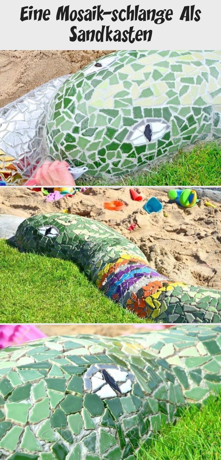 EINE MOSAIK-SCHLANGE ALS SANDKASTEN - Hausbau & Garten, DIY, Inspirationen - Baby, Kind und Meer #gartenkunstStein #gartenkunstKeramik #gartenkunstSculpture #gartenkunstMetall #gartenkunstBeton #Sandkasten mosaik Eine Mosaik-schlange Als Sandkasten