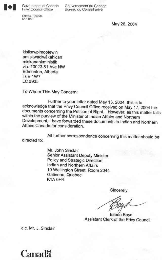 letter govpt canada privy office indians remain bound under irs - refusal letter