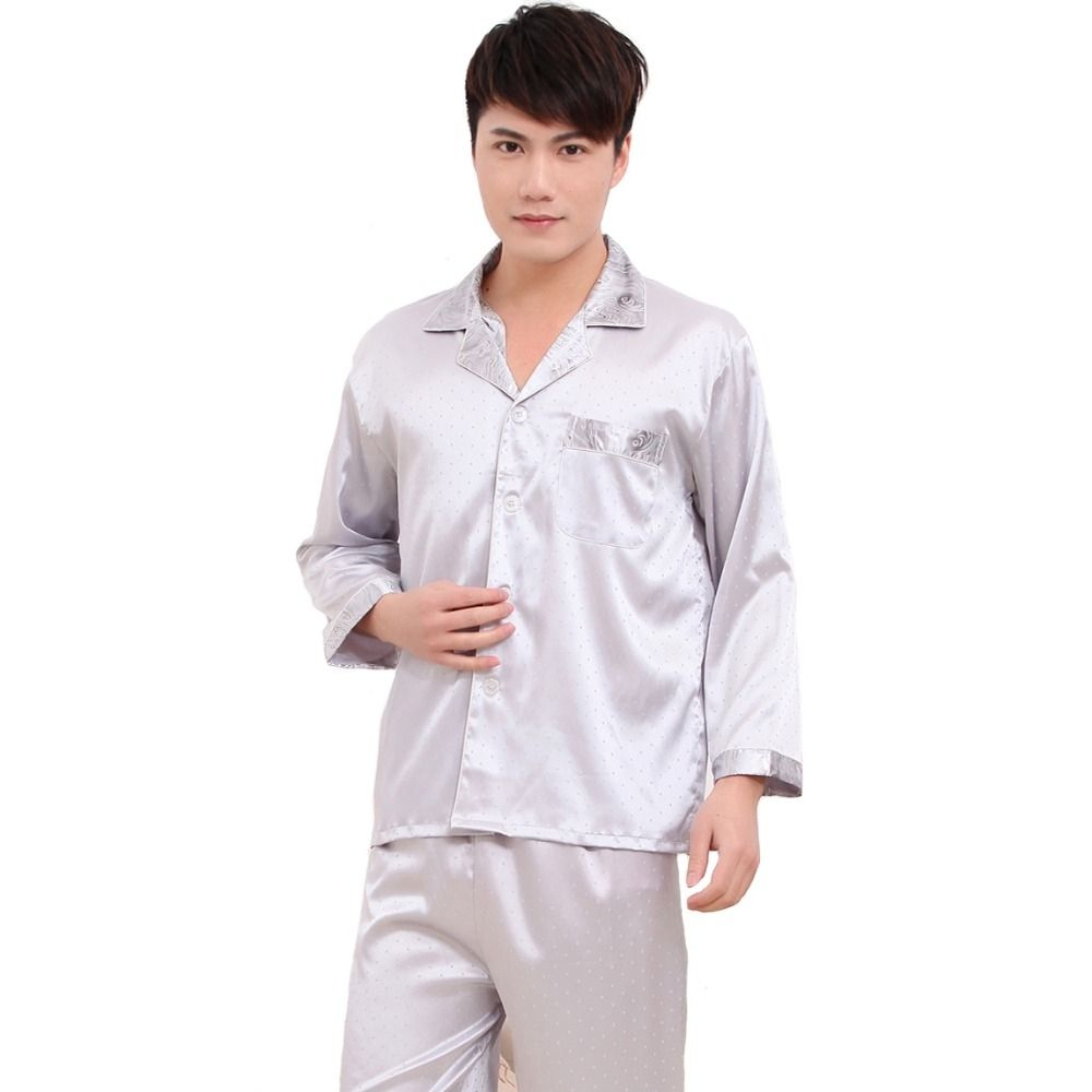 Rayon 2PCS Turn-down Collar Pajamas Set Long Sleeve Shirt Pant Home Wear  Loose Chinese Style 124391ffa
