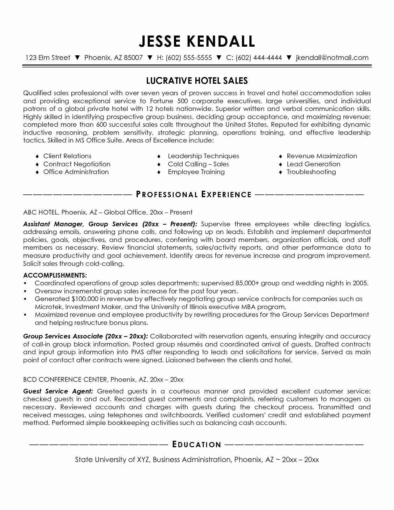 Beautiful hotel sales manager resume resume template
