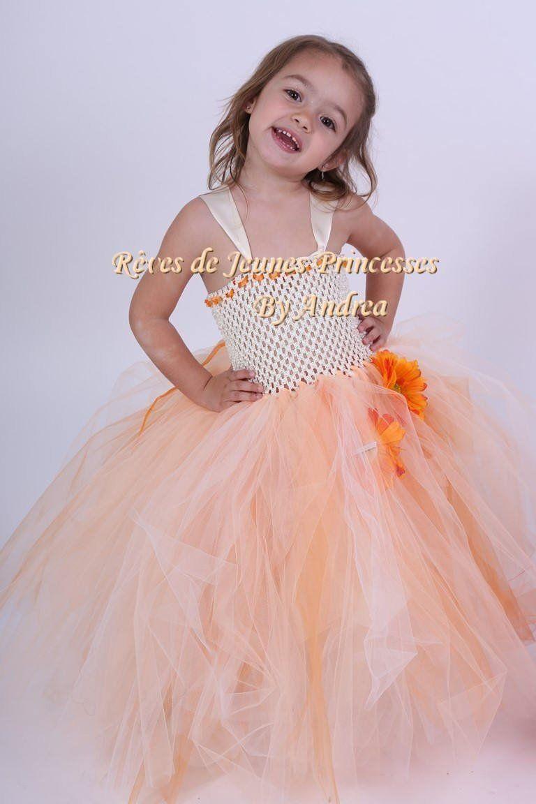 71553a8ecc2be Robe de cérémonie petite fille, robe demoiselle d'honneur, blanc cassé,  saumon