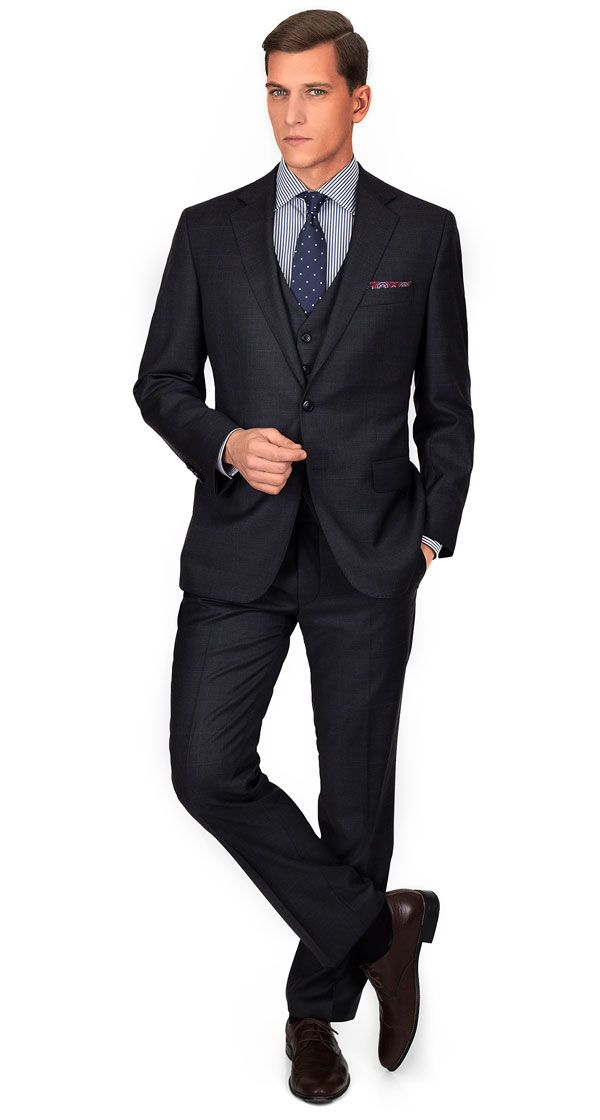 PREMIUM CHARCOAL PLAID 3 PIECE SUIT | Super 140s Italian Wool by ...