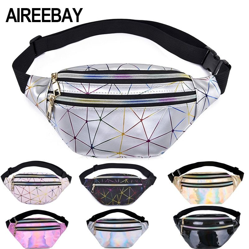 Geometric Holographic Waist Bag Women Fanny Pack Chest Phone Pouch Gold