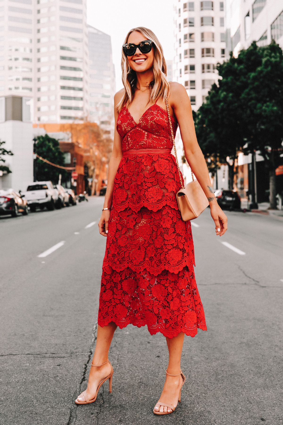 Fashion Jackson Wearing Self Portrait Red Lace Dress In 2020 Red Lace Dress Dresses To Wear To A Wedding Spring Wedding Guest Dress