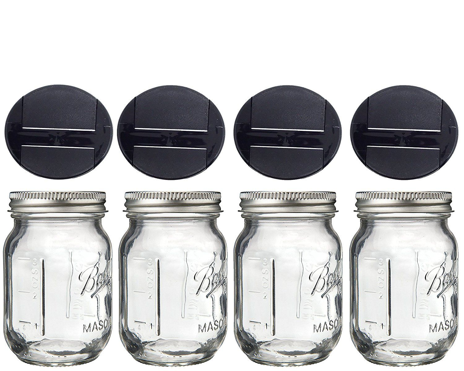 Amazon Com Mini Mason Spice Jar With Dispenser Lid 4oz 4 Black
