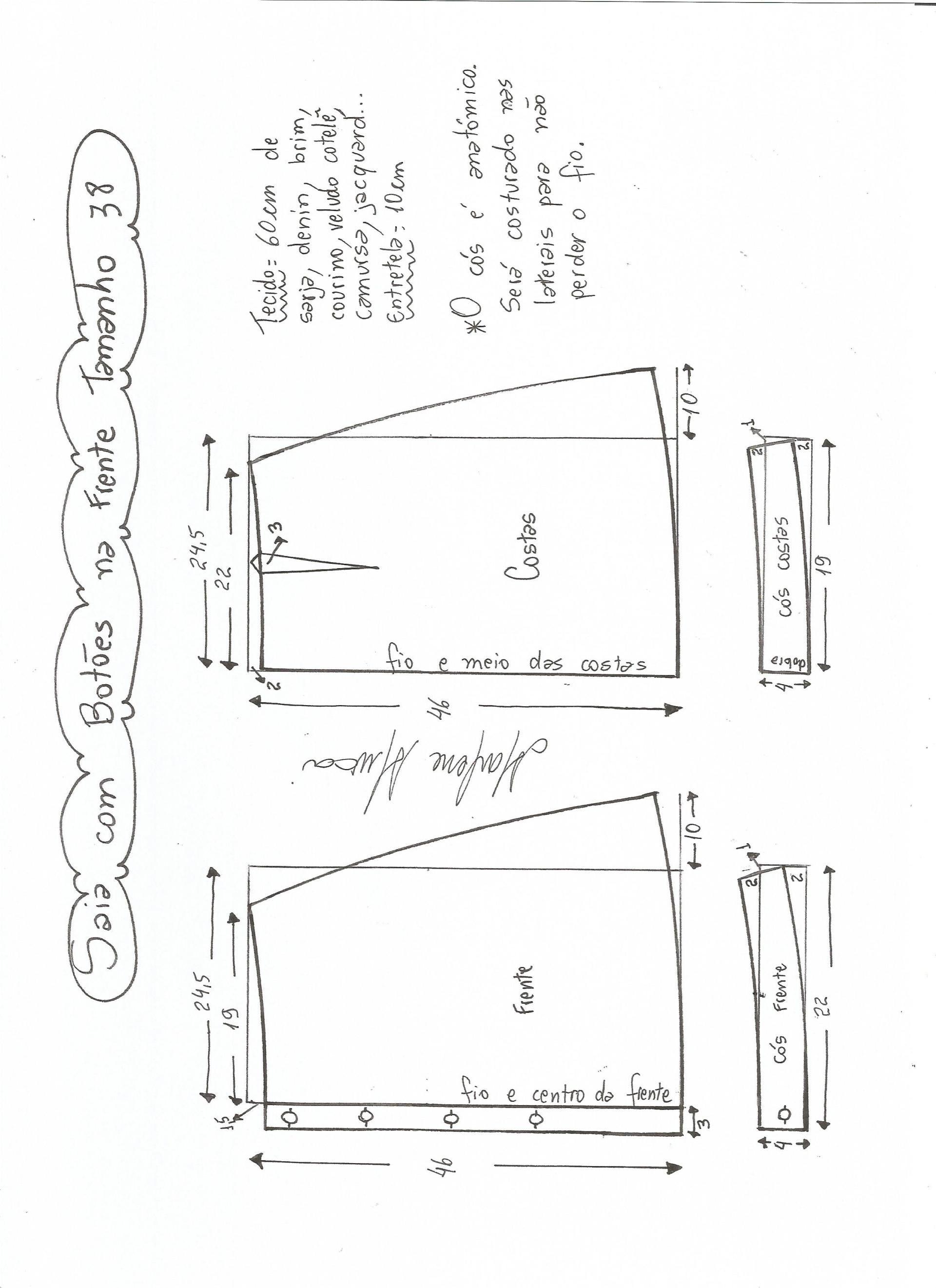 Patrones de falda campana con botones   ARM - CC - MARLENE MUKAI ...