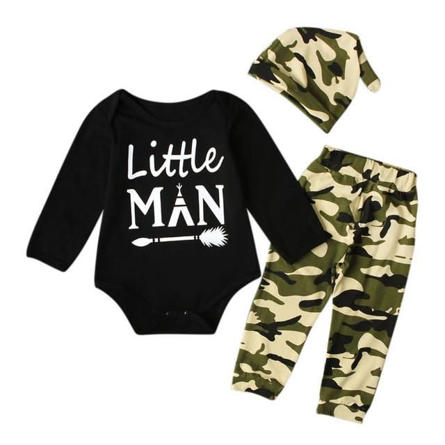 Newborn Baby Boys Tops Romper Camoufalge Pants Outfits Clothes+Hat 3Pcs//Set