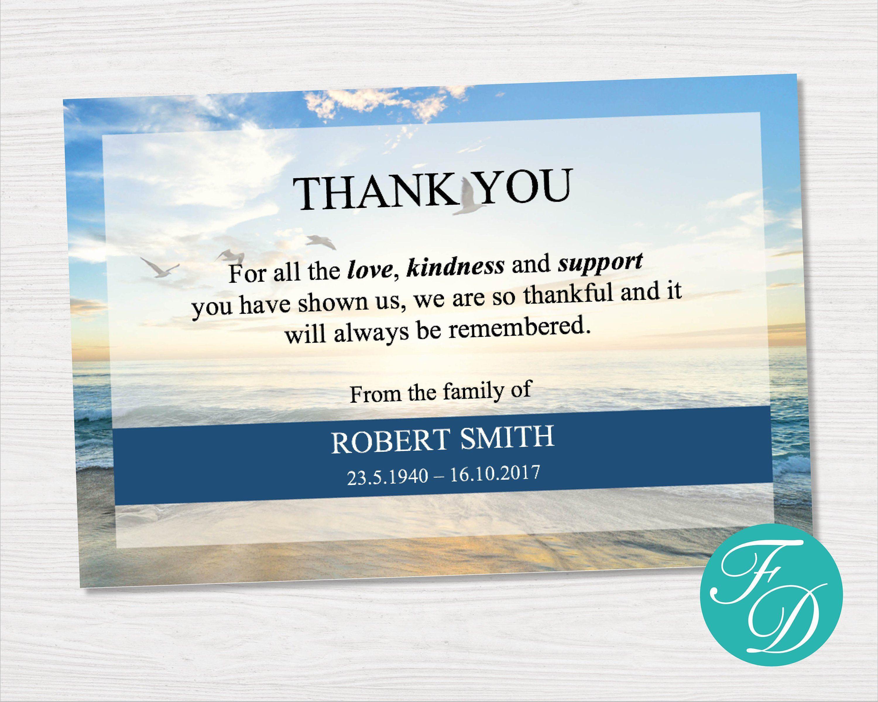 Beach Funeral Thank You Cards Blue Funeral Thank You Notes Etsy Funeral Thank You Cards Funeral Thank You Funeral Thank You Notes