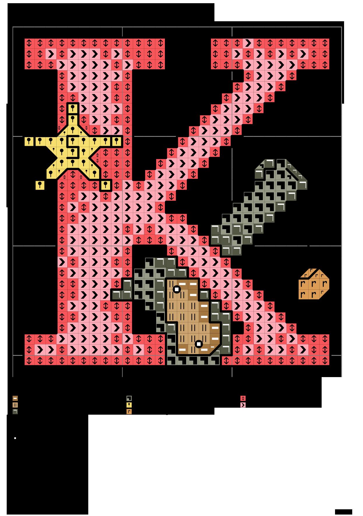 Alfabeto per bambini k punto croce punto croce bambino for Alfabeti a punto croce per bambini