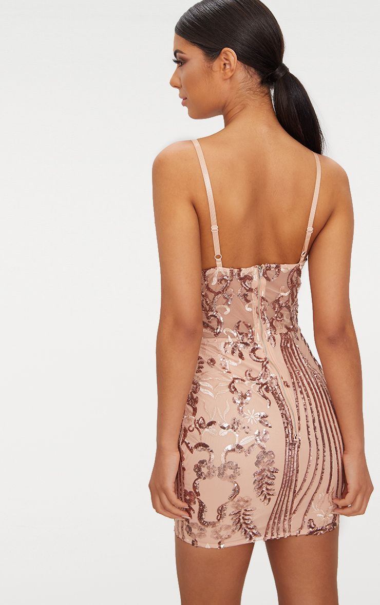 f73c2b8c2910 Rose Gold Strappy Sheer Panel Sequin Bodycon Dress in 2019 ...