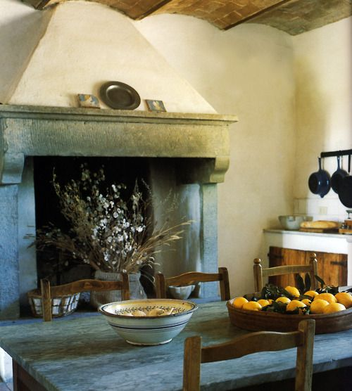 Kitchen fireplace French country Pinterest Cuisine salle à