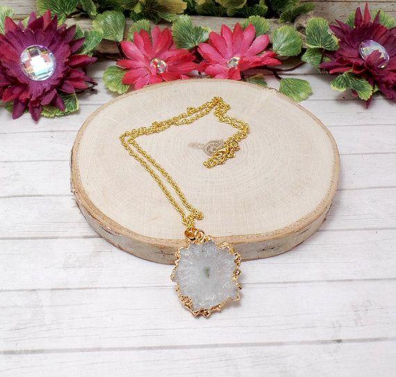 White Solar Quartz Necklace Gemstone by BohemianZenBoutique