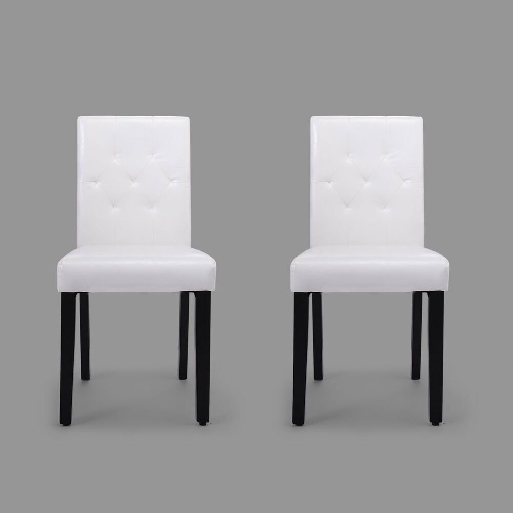 White Dining Chairs Elegant Leisure Armless Kitchen Pu Upholstered