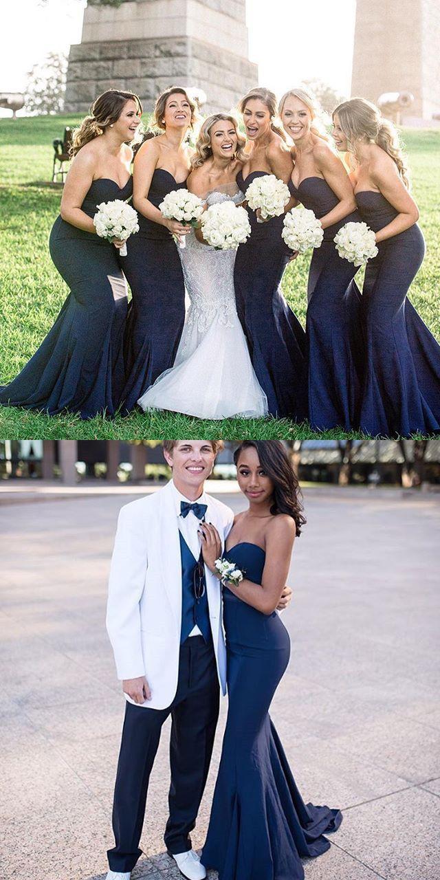 Bridesmaid dress navy blue bridesmaid dress mermaid long