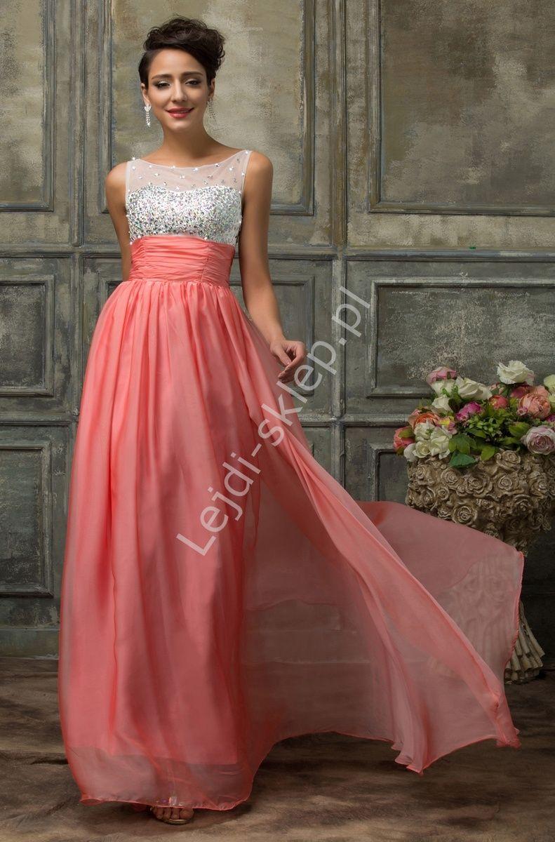 888a8a900 Koralowa długa sukienka z kryształkami | sukienki wieczorowe ...