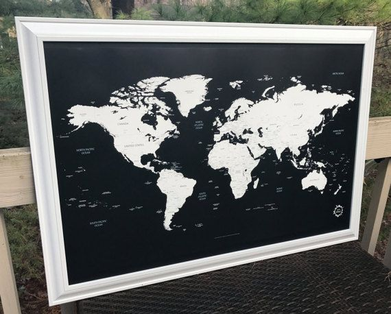 Framed xl world map pin board cork board 26x40 large white framed xl world map pin board cork board 26x40 large white framed map of the world to map your travels gumiabroncs Images