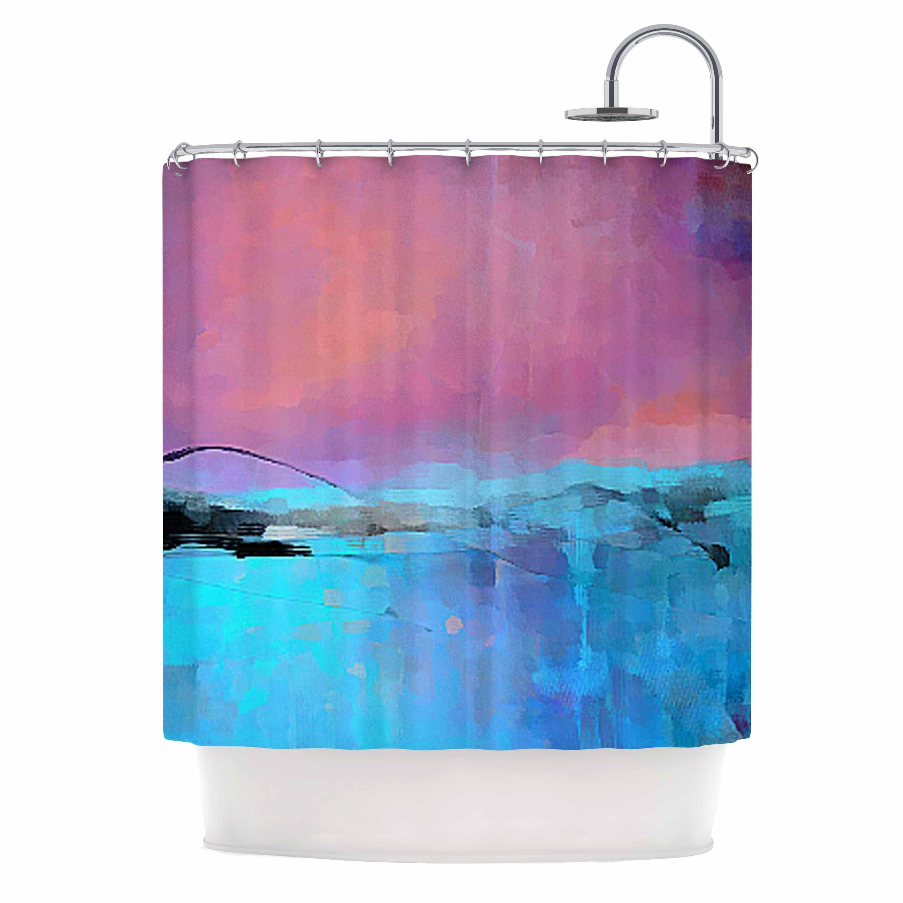 afe diamond shower pattern illustration curtains pink curtain digital tiles blue from images kess pin