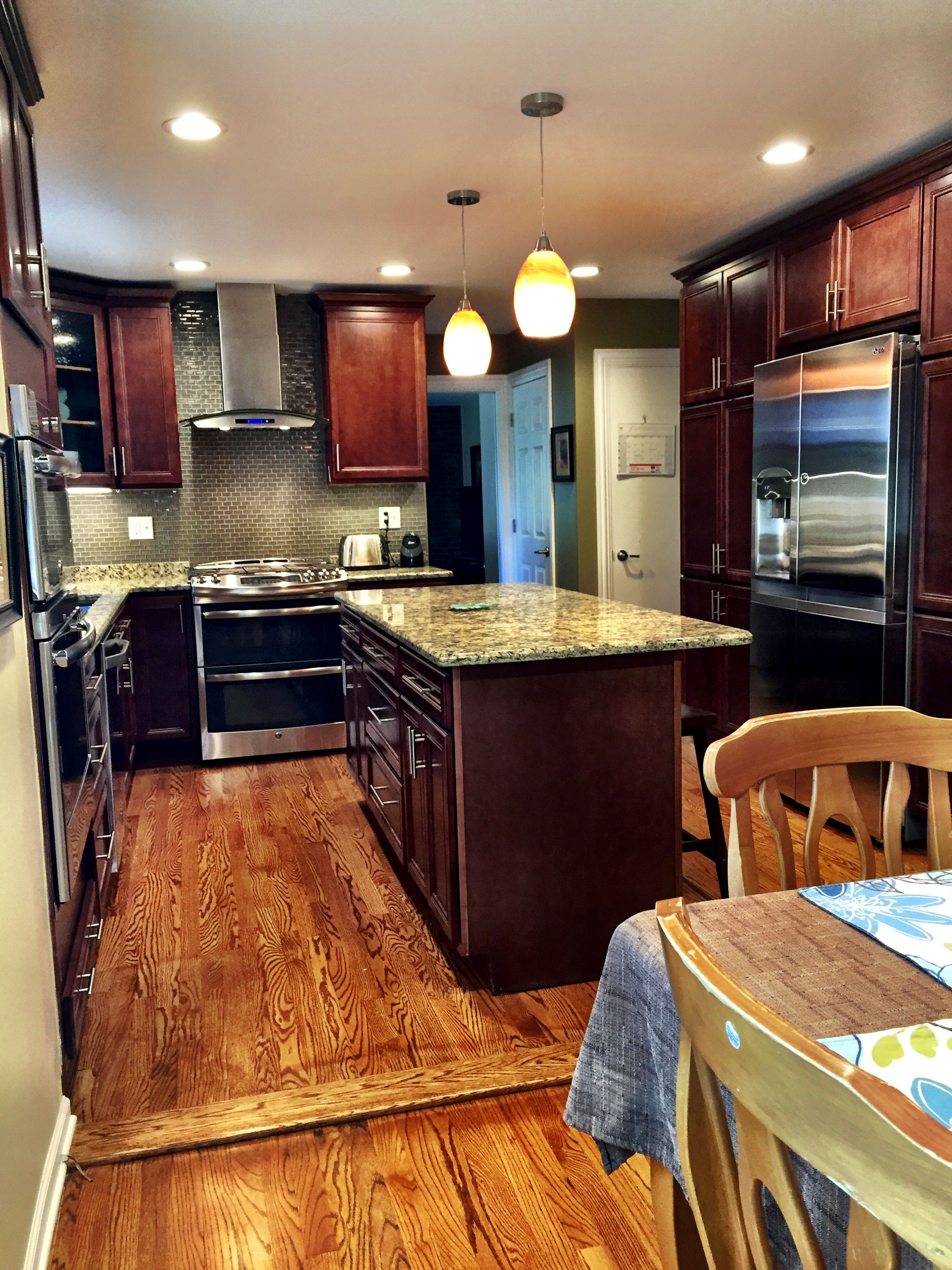 Kitchen Remodel With Oak Floors, Giallo Granite, SMART Cabinets Style:  Atlantic, Color