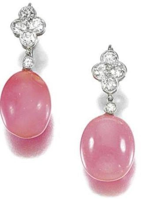 Rare Belle Epoque Conch pearl & diamond earrings, c. 1901 to 1915.