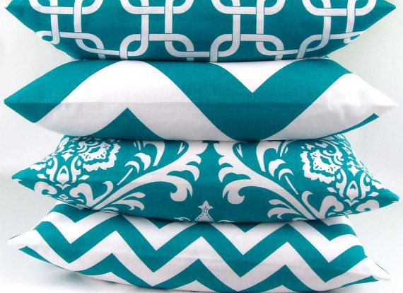 Turquoise Pillow cover 20x20 you pick fabric teal blue aqua geometric damask zigzag chevron chain throw cushion sham Premier Prints FREESHIP on Etsy, $22.00