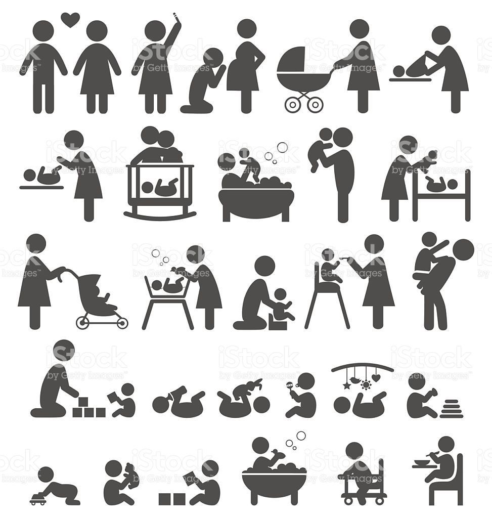 Set of family and baby pictograms flat icons isolated on