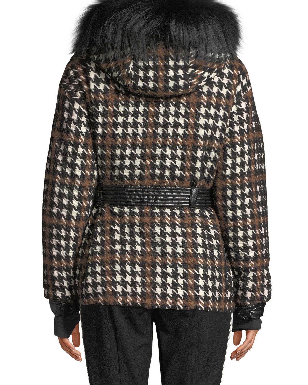 a58872871468 Moncler Grenoble Gardena Houndstooth Coat w/ Lamb Shearling ...