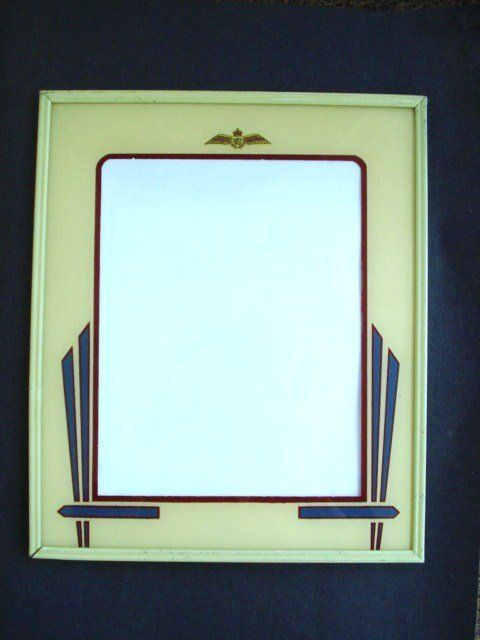 Vintage 1930\u0027S ART DECO REVERSE PAINTED Picture Frame - GREEN - green photo frame