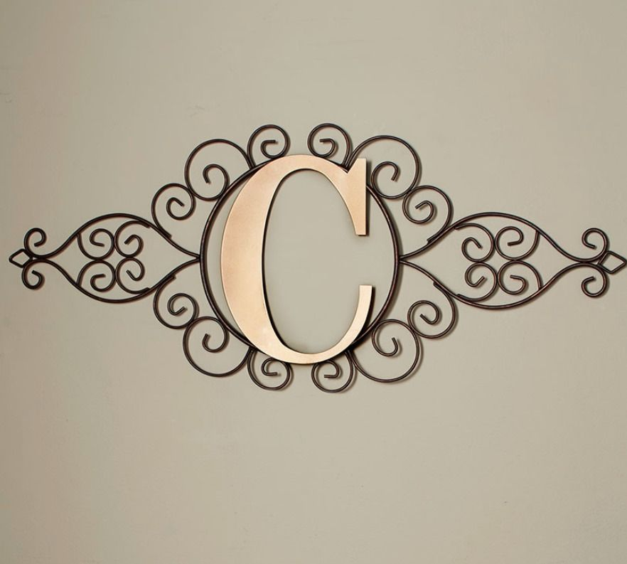 The Letter C Initial Indoor Outdoor Wall Hanging Metal Rustic Scrollwork Decor Home Garden Home Monogram Wall Art Metal Monogram Letters Initial Wall Art