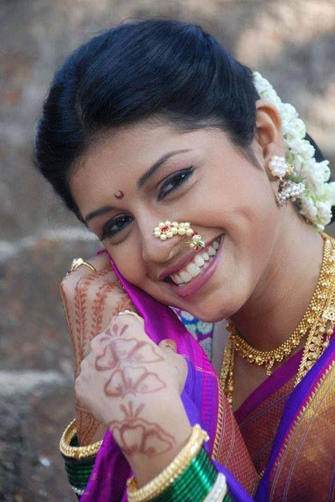 Traditional Indian Maharashtrian Bride Wearing Bridal