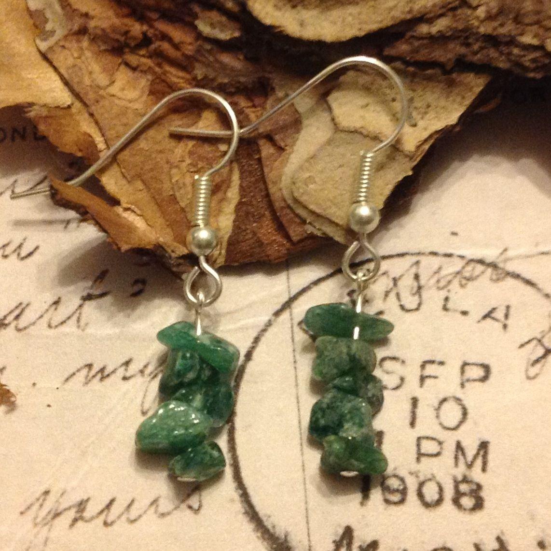 Green rock semi precious earrings £6.00 plus p&p