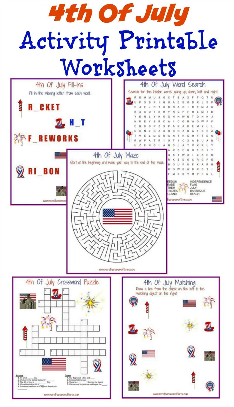 4th Of July Activity Printable Worksheets - More Than A Mom Of Three