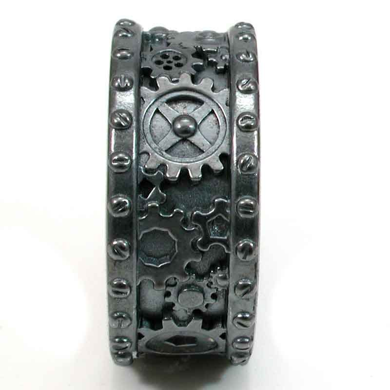 steampunk black silver gear ring steam punk wedding ring - Steampunk Wedding Rings