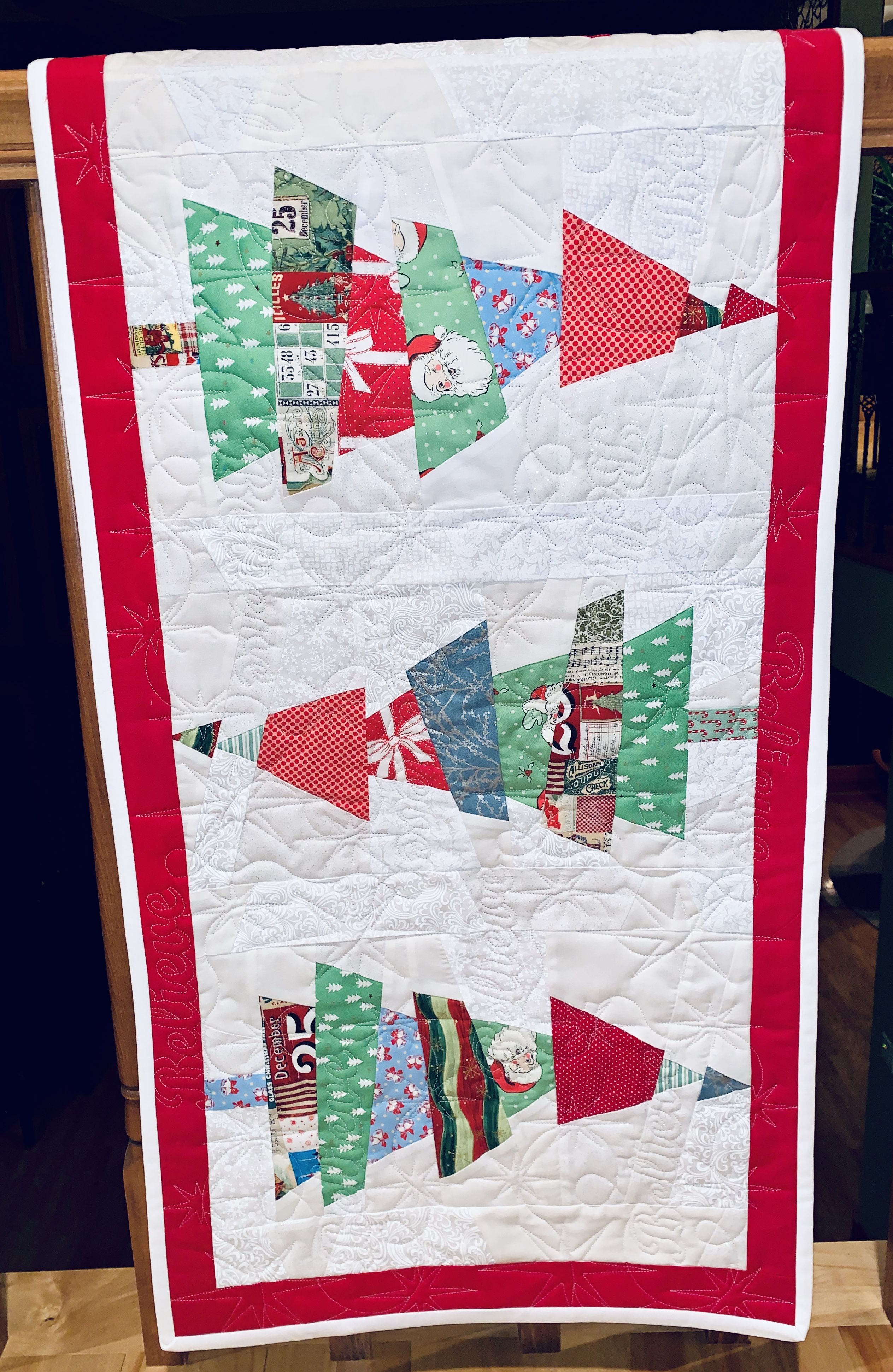 Crazy Christmas Tree Quilted Table Runner Larger Size Christmas Tree Quilt Christmas Tree Quilted Table Runner Personalized Quilt