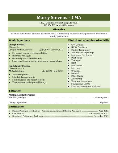 Certified Medical Assistant Resume Genericcombinationmedicalassistant  Resume And Interview