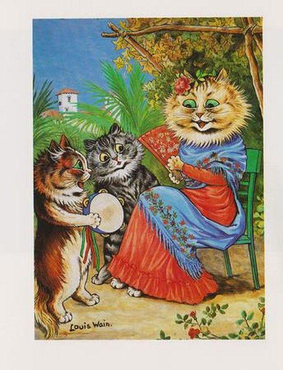Cat art Print by Louis Wain _ Senorieta of Spain by AgelessPrints