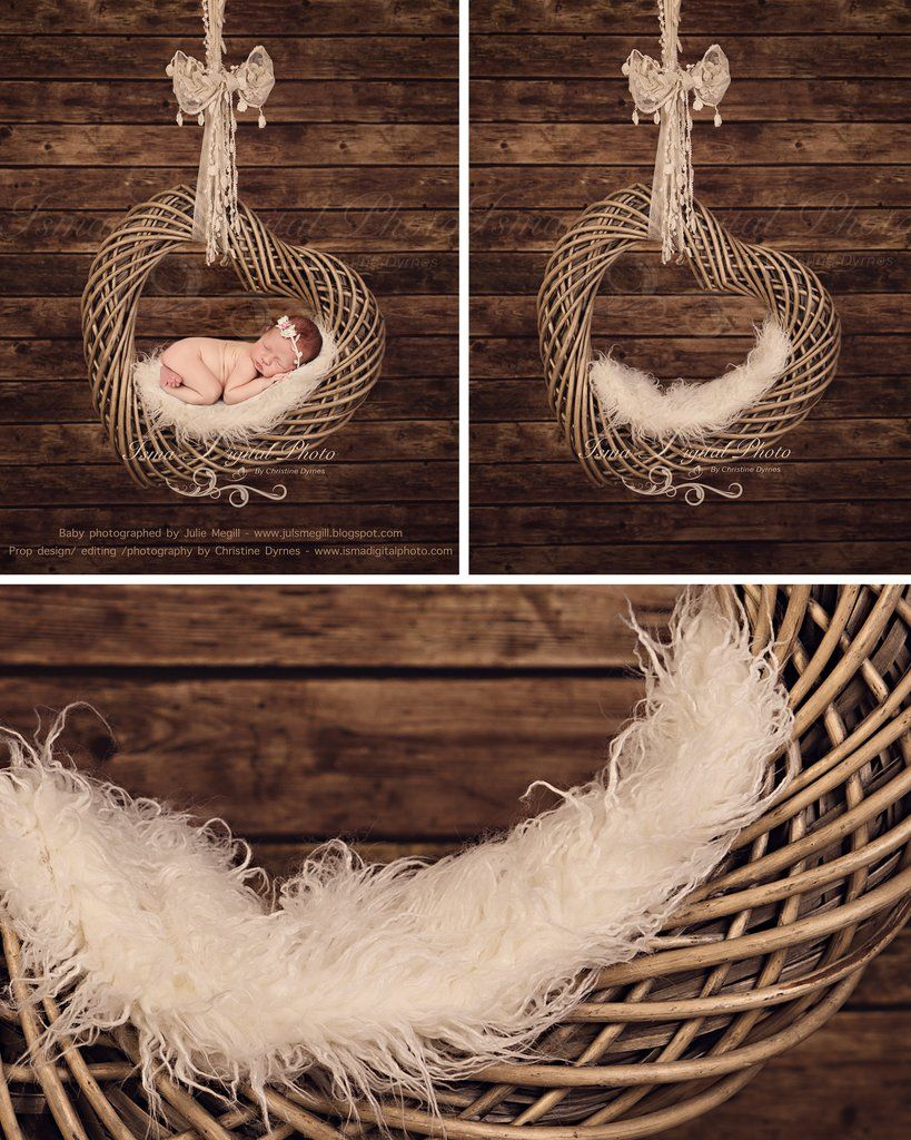 Heart with wooden background beautiful digital newborn photography props download psd with layers