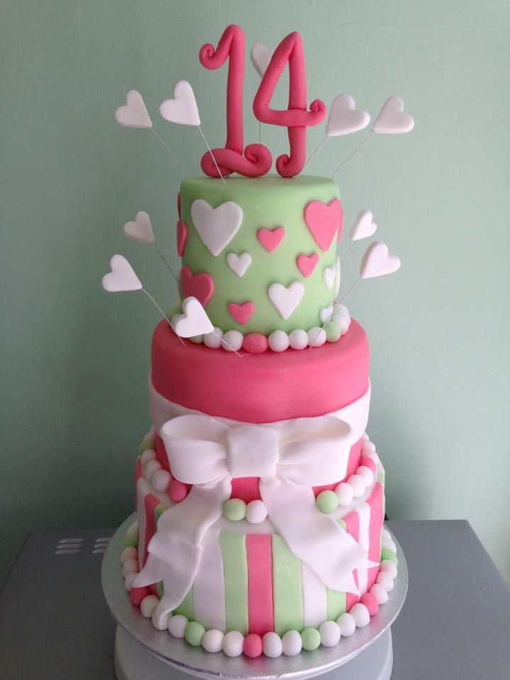 My 3 tiered birthday cake for a 14 year old girl ...