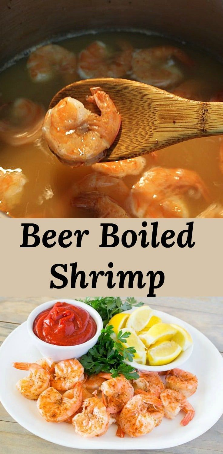 Beer Boiled Shrimp, simmered in a flavorful broth #boiledshrimp