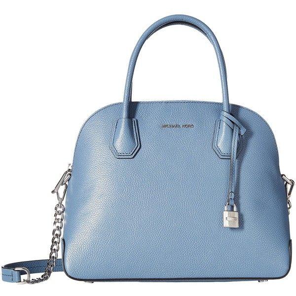 bc6ca395ff87 MICHAEL Michael Kors Mercer Large Dome Satchel (Denim) Satchel... ($298) ❤  liked on Polyvore featuring bags, handbags, blue satchel handbags, dome  satchel, ...