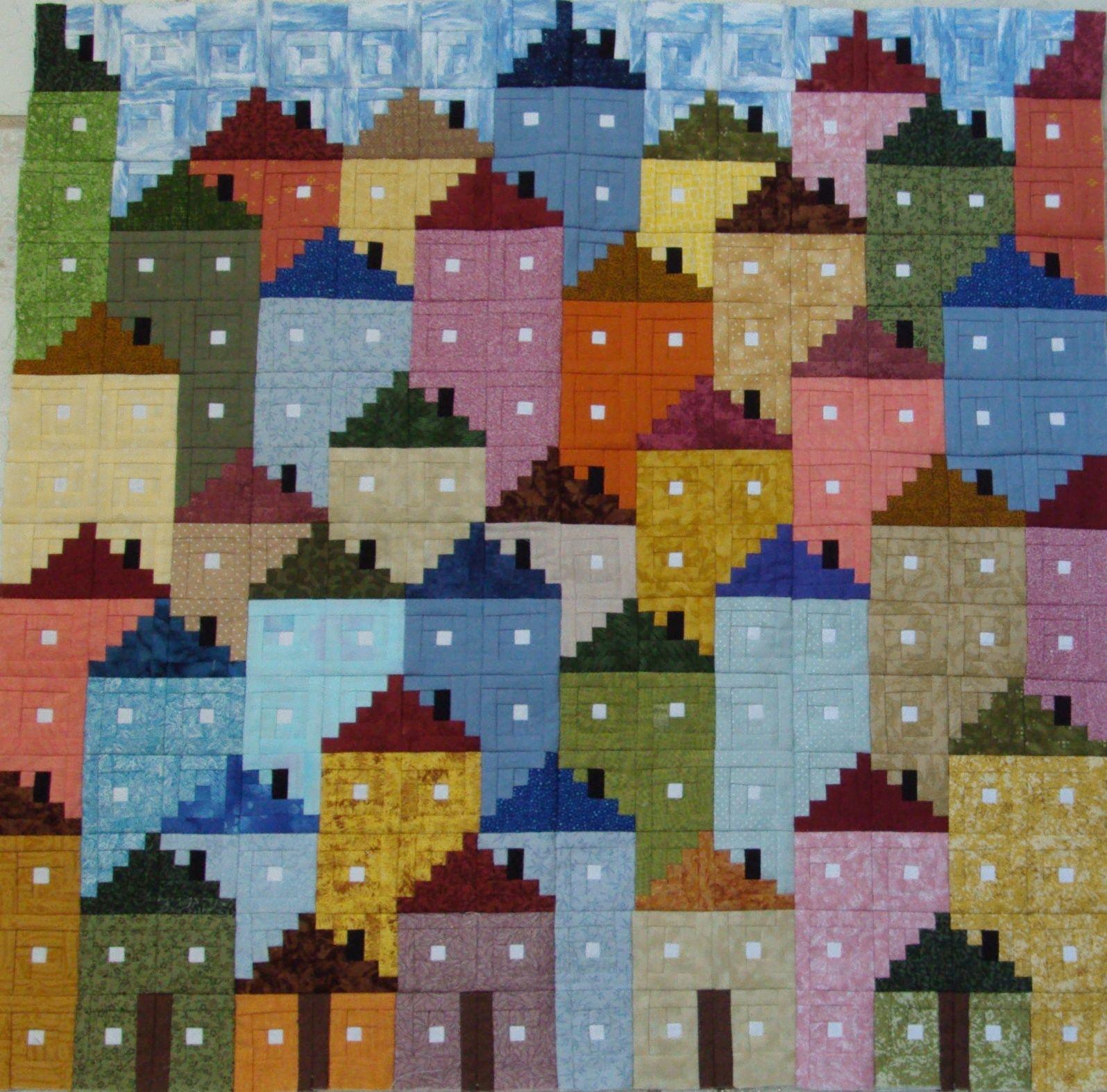 Log cabin casitas imprimibles papel tapiz casas de - Casas de patchwork ...