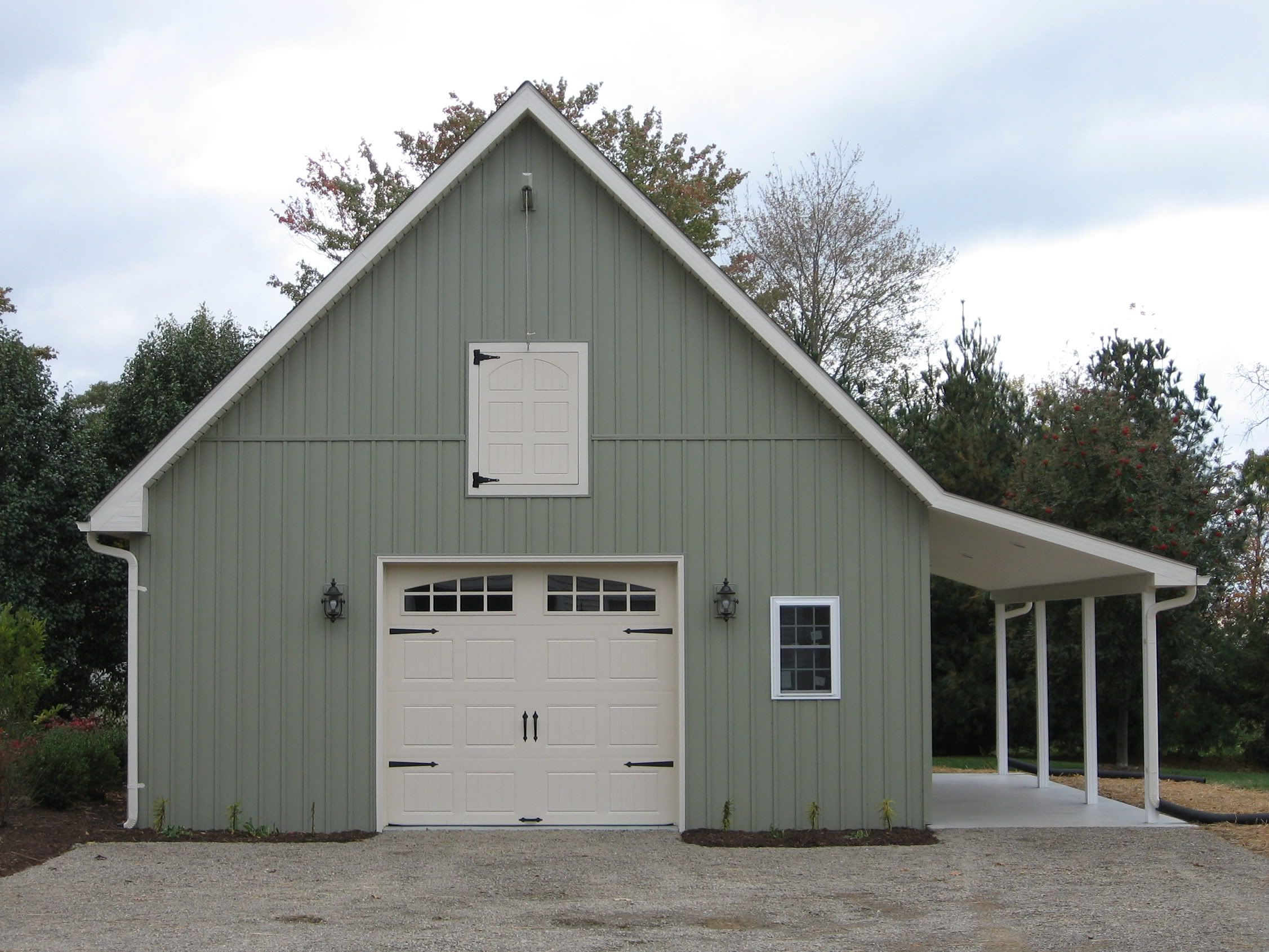 24 39 x 24 39 main garage body with an 8 39 x 9 39 overhead garage for Pole barn shop plans