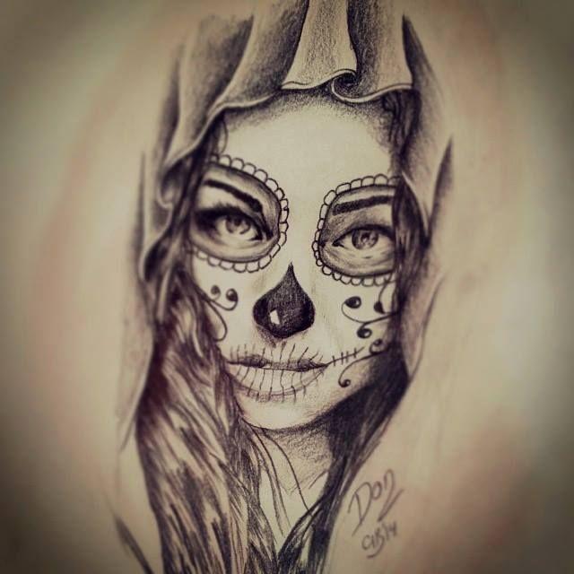 Santa muerte chicana cerca con google la catrina pinterest ideias de tatuagens e tatuagens - Santa muerte tatouage signification ...