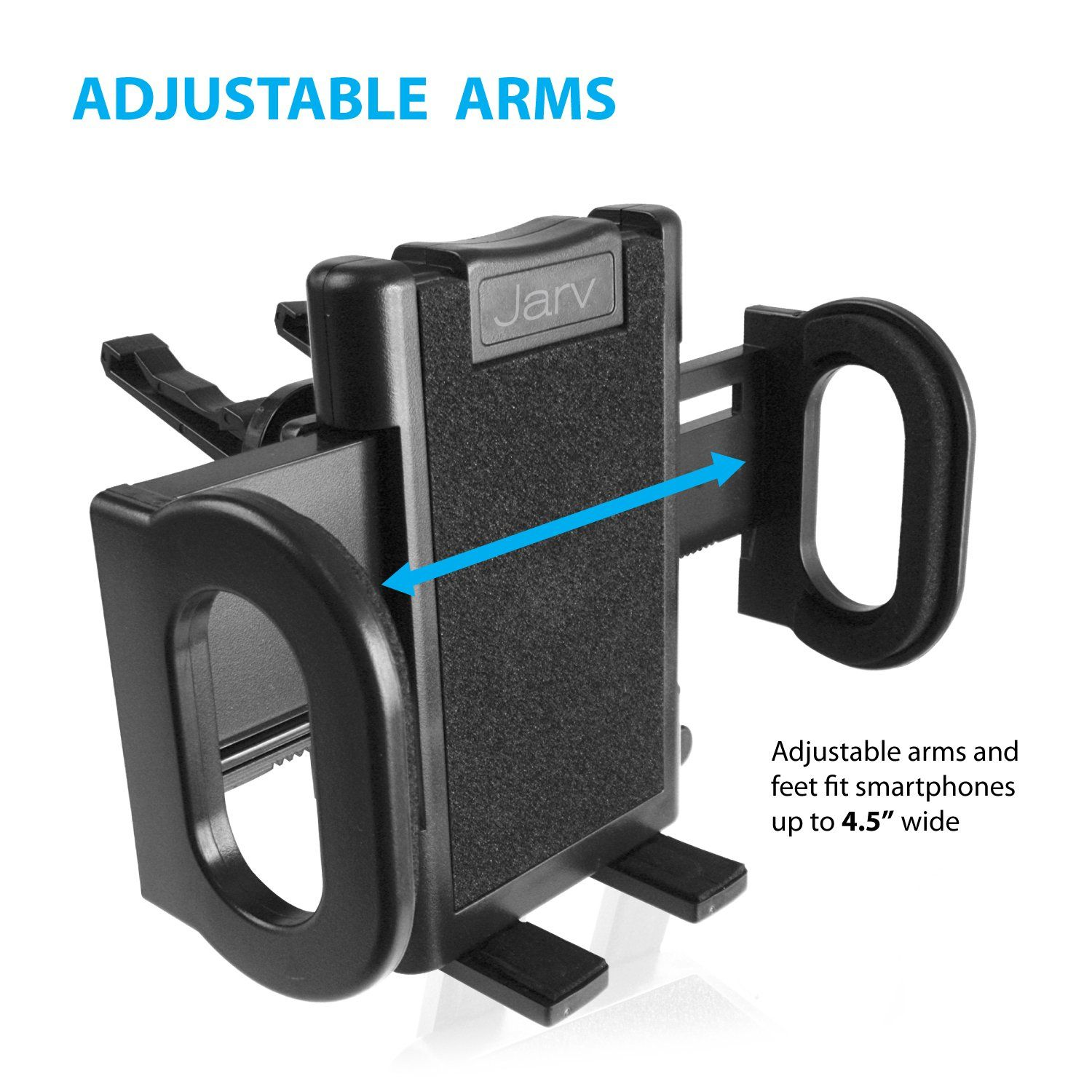 Jarv Premium Flexible Air Vent for Apple iPhone X 8 7 6S 6 Plus Samsung Galaxy S8 S7 S6 Galaxy Note 8 5 Edge Plus Phones w Cushioned Car Mount Holder with