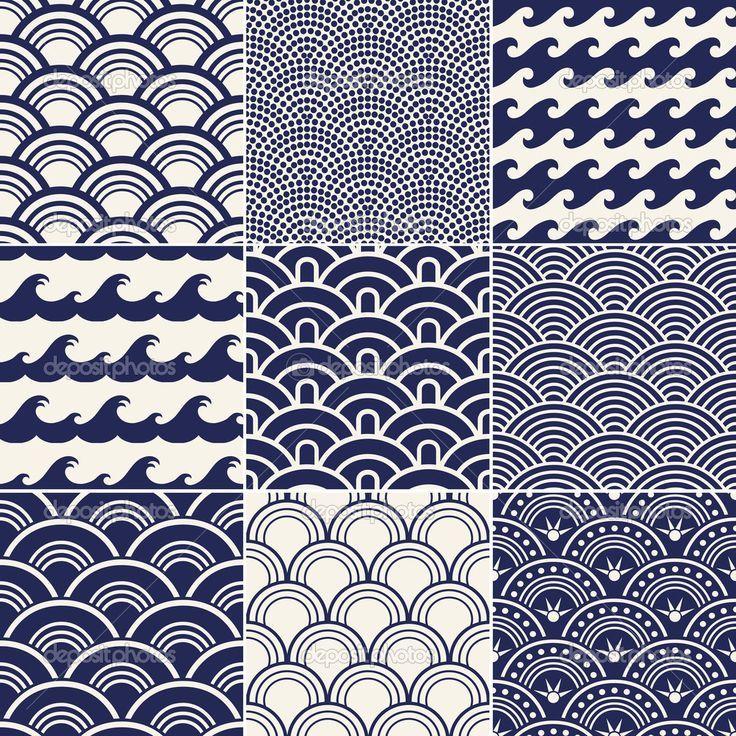 Fototapete Nahtlose Retro Japanische Muster
