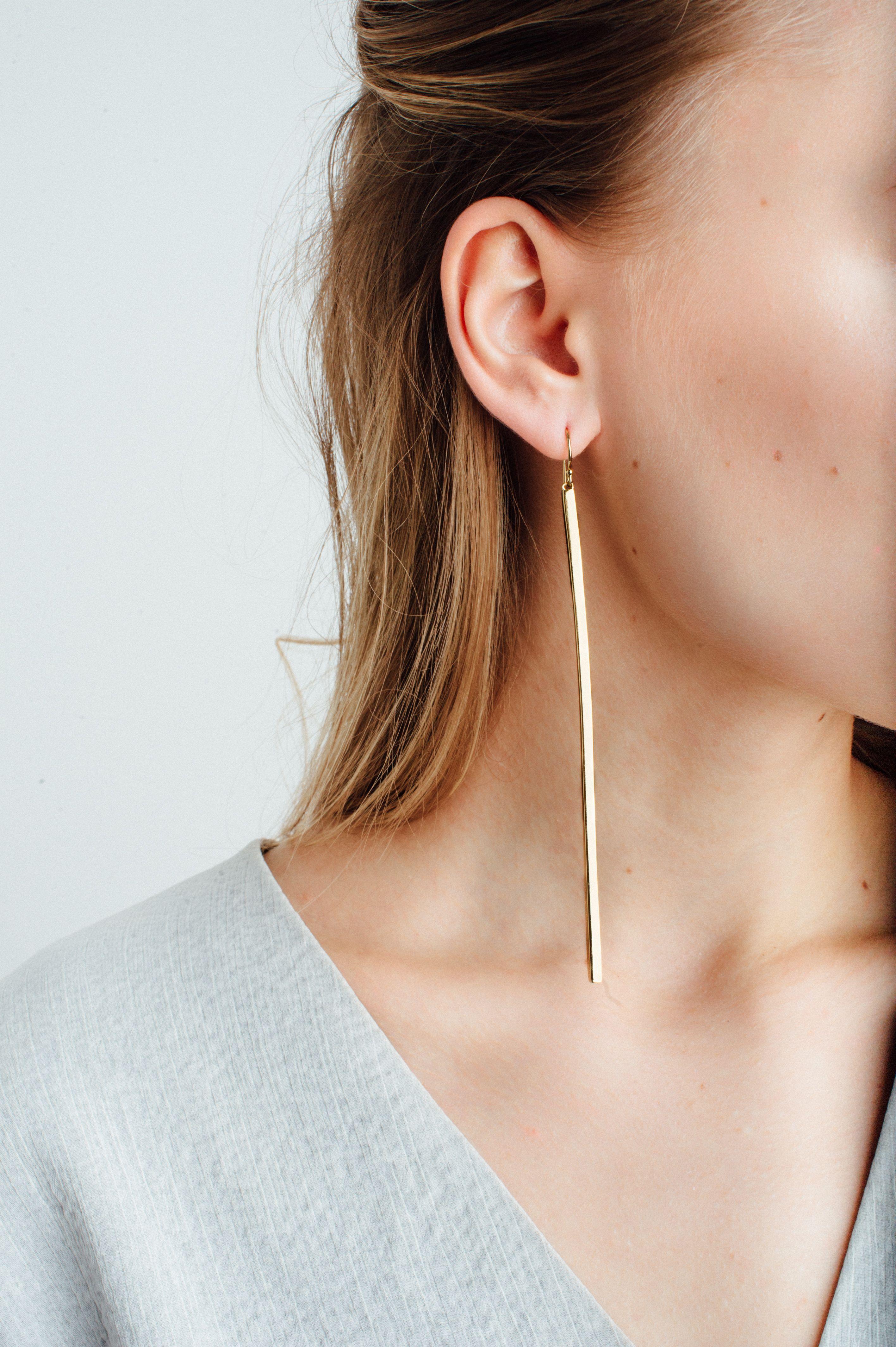 921097bb0 Long Bar Earrings in 2019 | Editions | Bar earrings, Gold bar ...